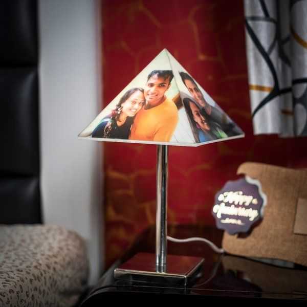 Personalized Lamp with Pyramid Photo Shade