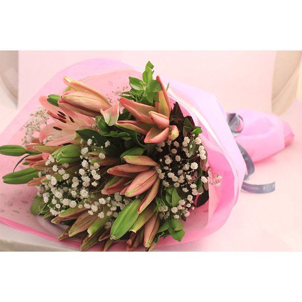 Smiley Gifts Pink Asiatic Lilies Hand Bouquet