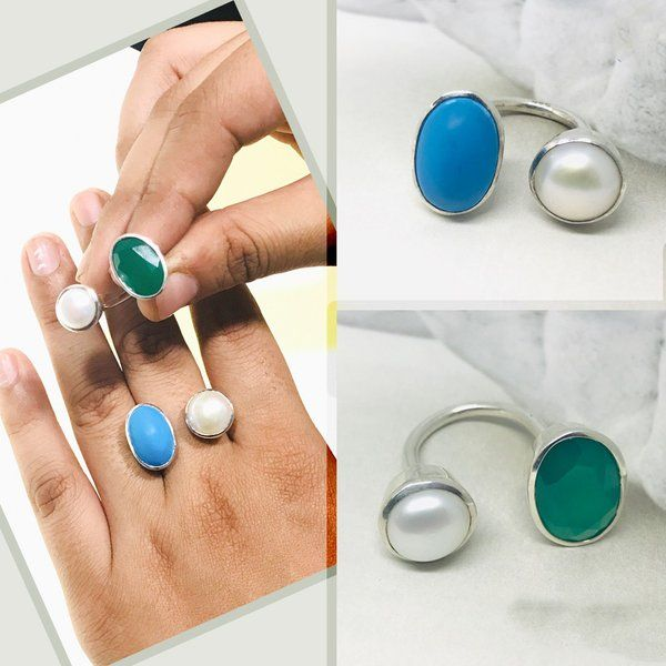 Divija Precious Stone Auspicious Angoothi Handcrafted Traditional Pure Sterling Silver Ring 2nd Anniversary Gift For Wife