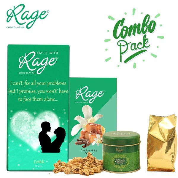 Rage Chocolatier Combo Pack with Masala Cashew Nuts Smiley Gift Items