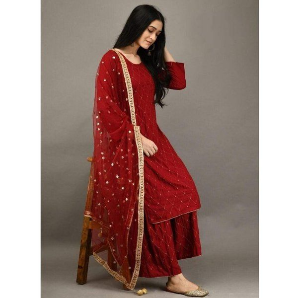 Hoods & Bonds Red Rayon Kurti With Plazzo Anniversary Gifts For Sister