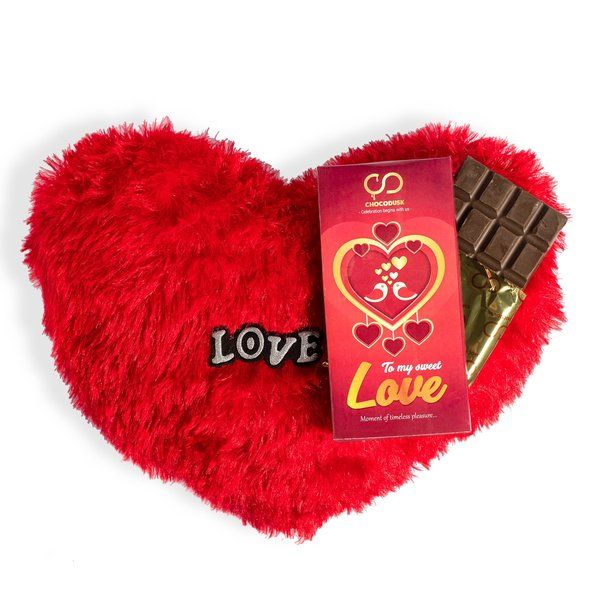 Chocodusk To My Sweet Love Chocolate With Red Heart Cushion Valentines Day Gifts For Her