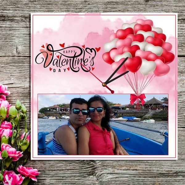 Valentine's Day Special Personalized Photo Wall Clock