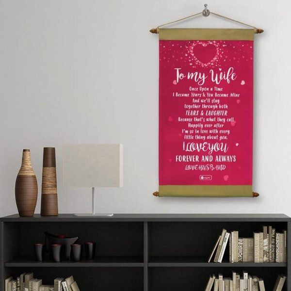 Indigifts Wife Printed Pink Message Love Scroll Card Valentines Day Décor