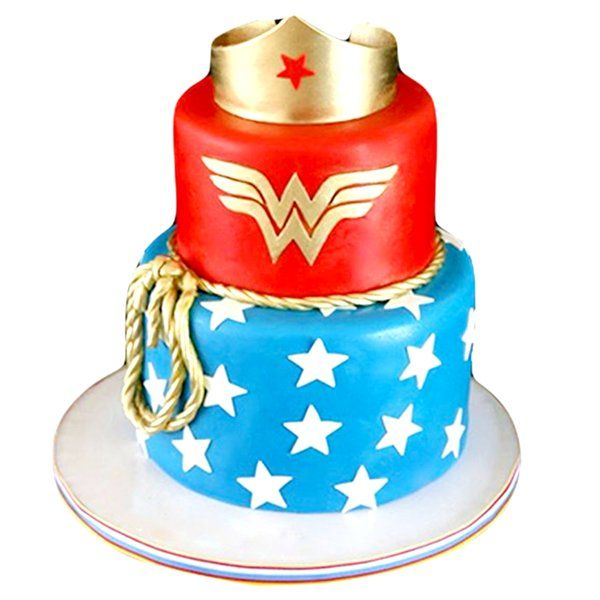 CakeZone Wonder Woman Colours Tier Crown Cake Personalized Gifts For Kids