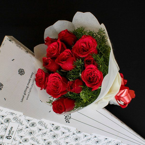 HalfCute Local 12 Red Roses Bunch Personalized Anniversary Gifts