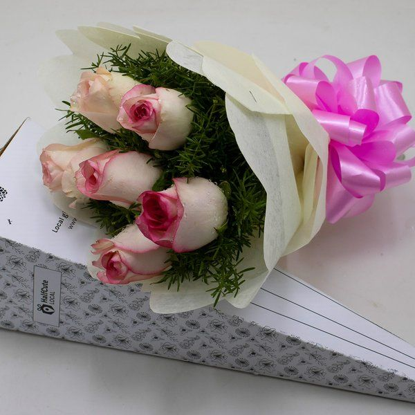 HalfCute Local 6 Pink Roses Paper Pack	 Online Flower Delivery