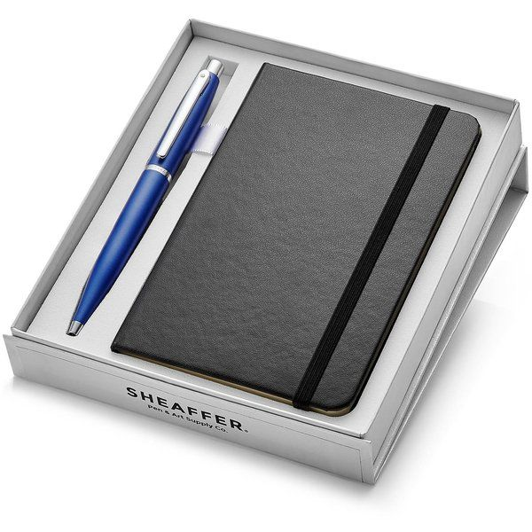 Sheaffer 9401 VFM Ballpoint Pen - Neon Blue With Nickel Plated Trim And A6 Note Book Last Minute Birthday Gift For Dad