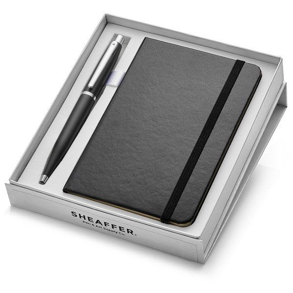 Sheaffer 9405 VFM Ballpoint Pen - Matte Black With Nickel Plated Trim And A6 Note Book Long Distance Relationship Gifts