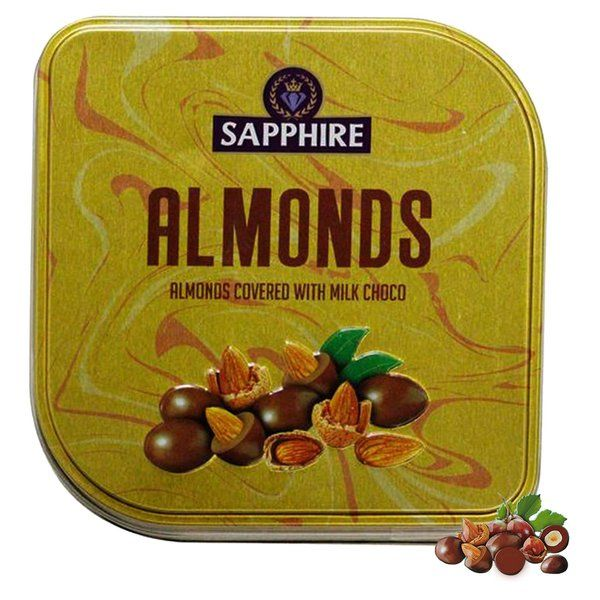 Sapphire Almond Square Tin Box 90g Gifts For Indian Girlfriend