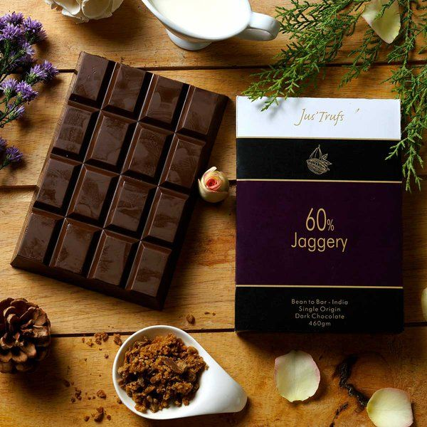 Jus'Trufs Chocolatiers Artisanal 60% Dark with Jaggery chocolate Bar 460 gm Rakhi Gifts For Sister