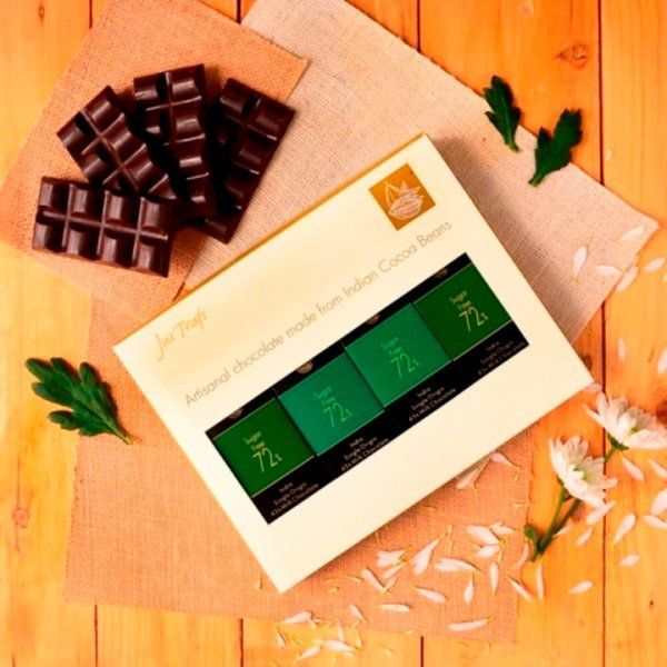 Jus'Trufs Chocolatiers Artisanal Sugarfree Chocolate Bars - Set of 4 Unique Gifts
