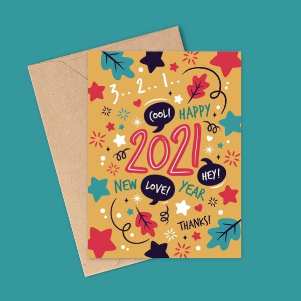 Privy Express Artistic New Year Graphic Greeting Card New Year Greeting Cards