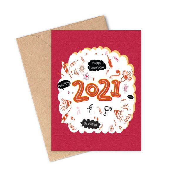Privy Express Be Better and Healthy in 2021 New Year Wishes Quote Greeting Card New Year Greeting Cards