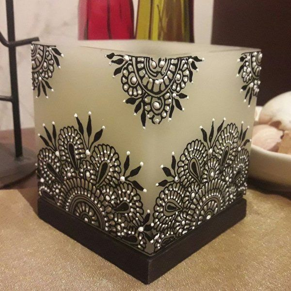 Black & White Flower Square Candle Holder Home Décor Gift Items