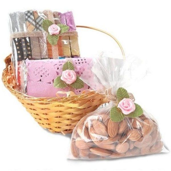 Chocolate Ideas Cane Basket Hamper Almonds Romantic Gifts