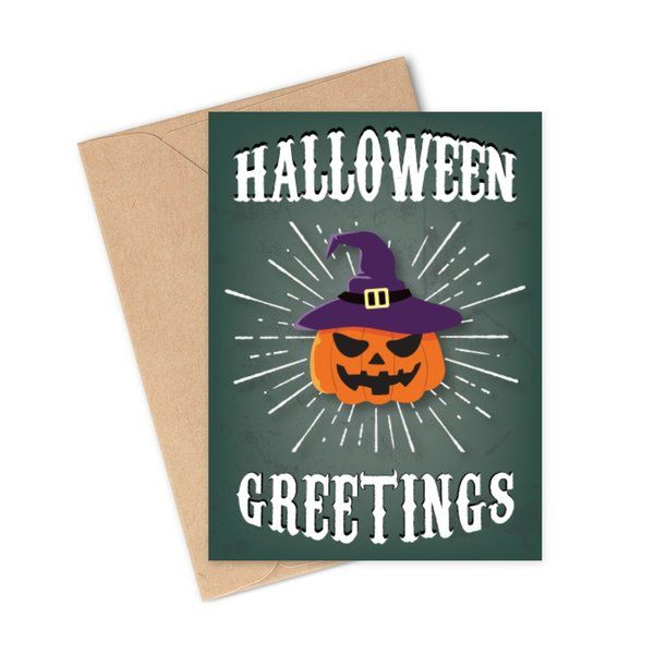 Carved Spooky Gifts Pumpkin Halloween Greetings & Wishes Card