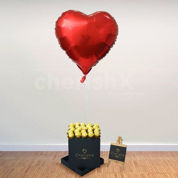 CherishX Chocolate Bucket With Heart Shaped Balloon Engagement Gifts