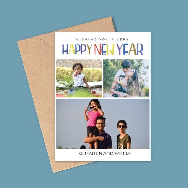 Privy Express Classic Happy New Year Family Collage Photo Greeting Card New Year Greeting Cards