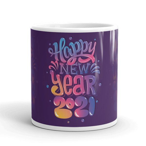 Privy Express Colorful Bubble Lettering 2021 New Year Printed Coffee Mug New Year Gift