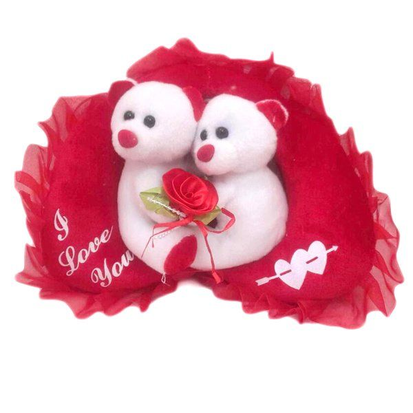 CakeZone Couple in Love on Red Heart Cushion Gifts For Long Distance Boyfriend