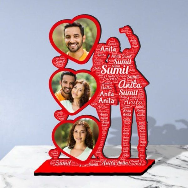Waah Craft Couple Selfie Personalized Photo Collage Table Stand Couple With Name Art Happy Hug Day Gift