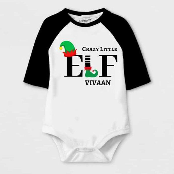 Knitroot Crazy Little ELF Print Baby Romper Christmas Costumes For Kids