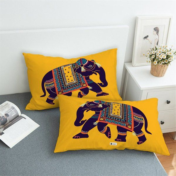 Indigifts Elephant Ethnic Abstract Set of 2 Pillows with Cover 25th Anniversary Gift Ideas For Friends
