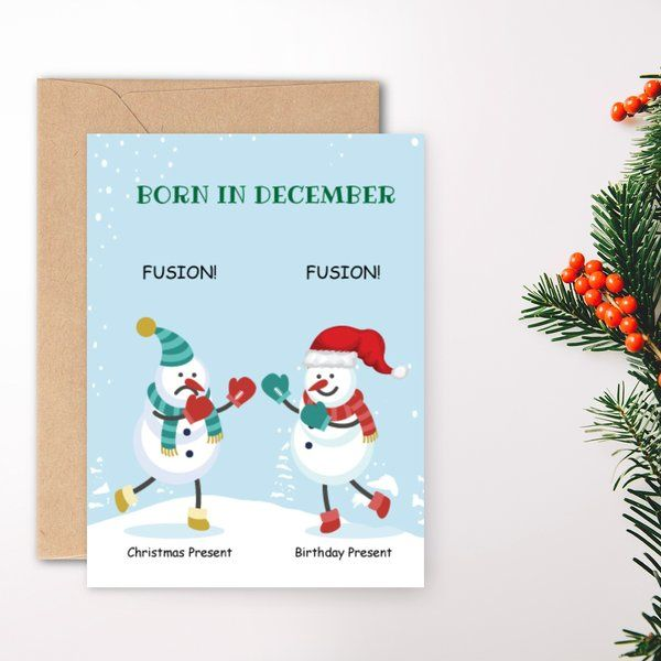 Privy Express Funny Christmas and Birthday Fusion Presents Greeting Card Christmas Greeting Cards