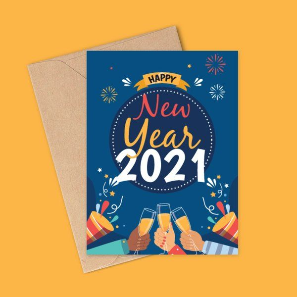 Privy Express Glowing Blue Happy New Year 2021 Greeting Card New Year Greeting Cards