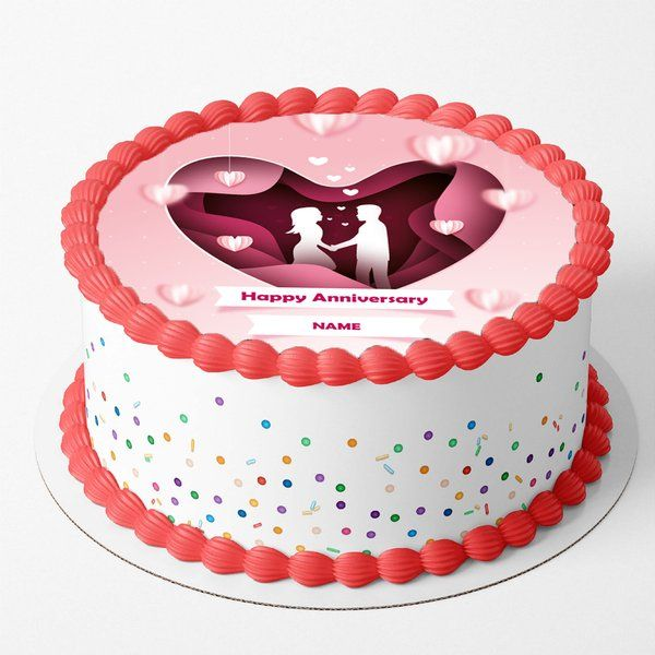 CakeZone Happy Anniversary Cake With Name Customization Romantic Gifts For Couple