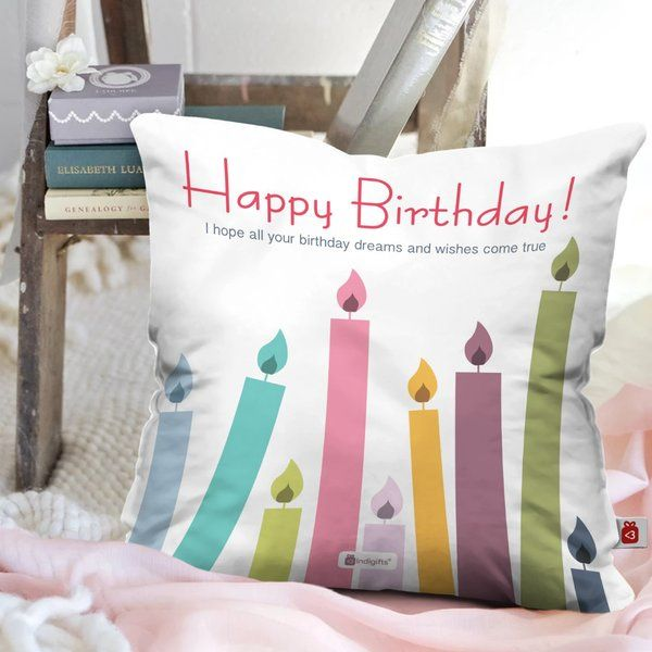 Indigifts Happy Birthday Printed Cushion Birthday Gift For Male Best Friend