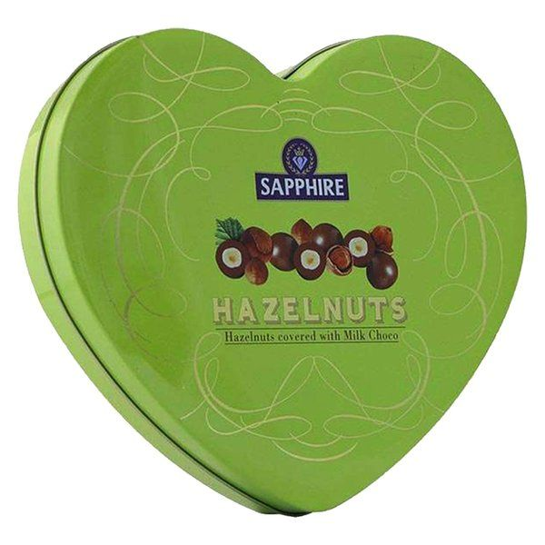 Sapphire Hazelnut Heart Tin Box (Covered With Milk Choco) 160g  Sorry Gifts