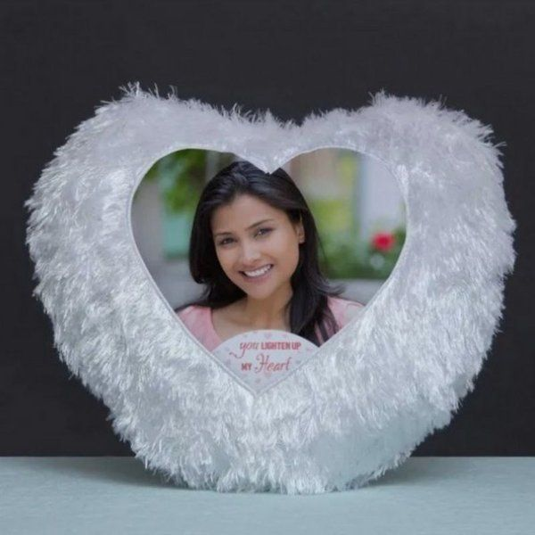 Waah Craft Heart Led Fur Photo Cushion Unique Valentines Day Gift