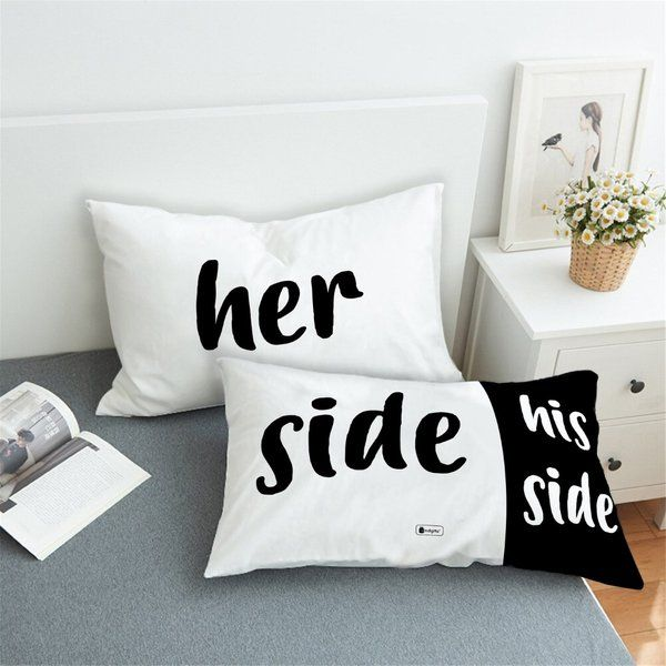 Indigifts Her Side and His Side Set of 2 Pillows with Cover His And Hers Gifts