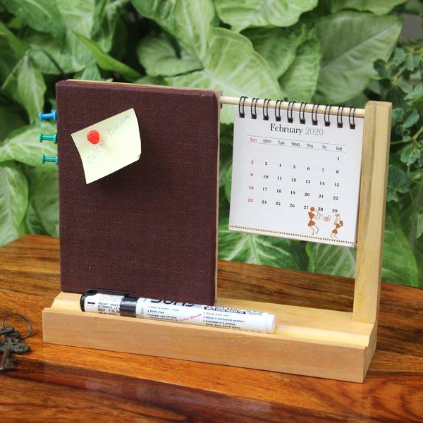 Ivei IVEI Warli Desk Calendar With A Pin Board - Dark Brown Unique Gifts For Brother