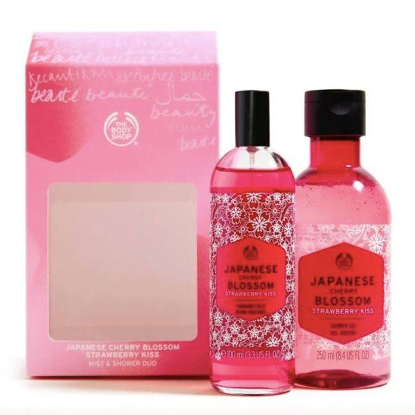 The Body Shop Japanese Cherry Blossom Strawberry Kiss Mist & Shower Duo Useful Gifts For Girlfriend