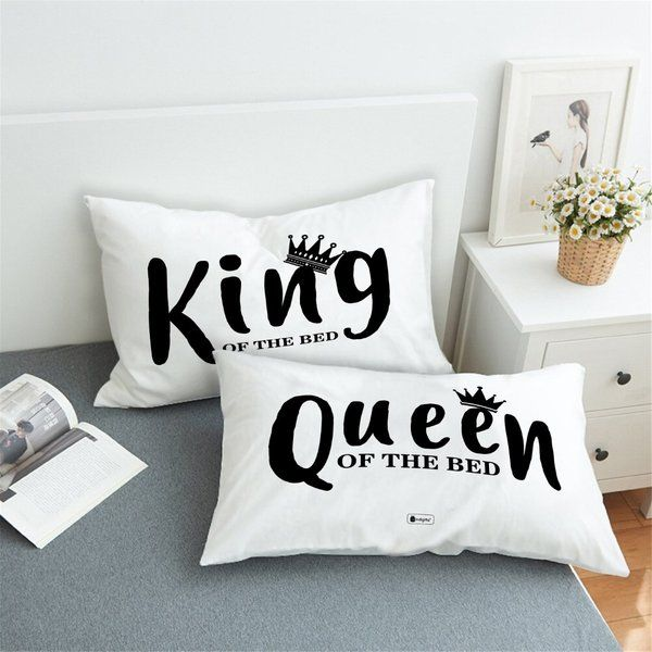 Indigifts King and Queen Set of 2 Pillows with Cover Pillow Cover Design