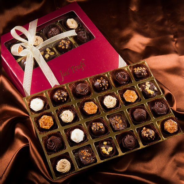 Jus'Trufs Chocolatiers Luxury Pralines Box Of 24 Rakhi Gifts For Sister
