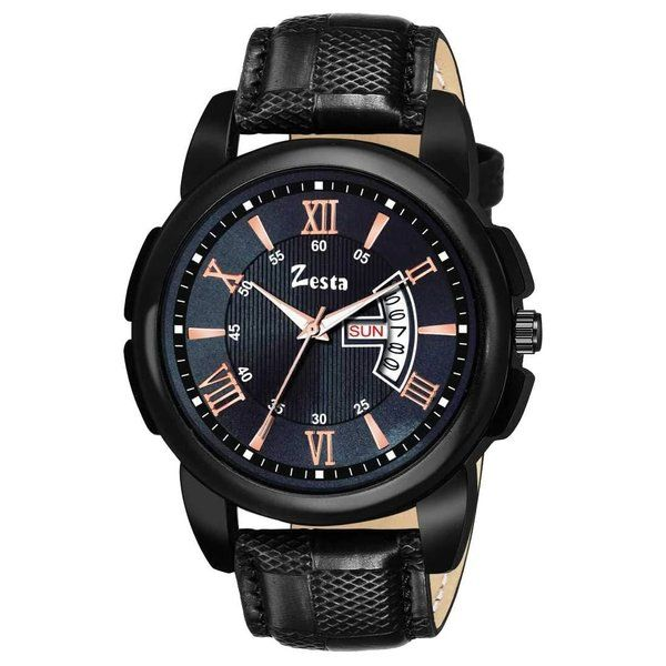 zestaindia Men Day/Date Watch - Black Unique Gifts For Brother