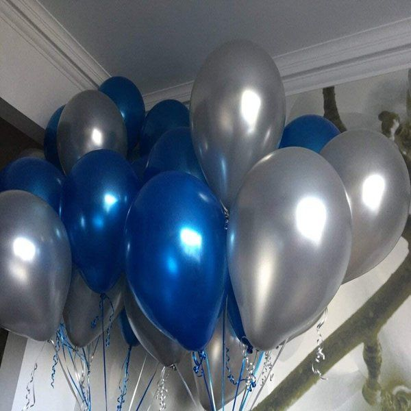 Arjoos Metallic HD Balloons Blue and Silver (deflated) New Year Decoration Items