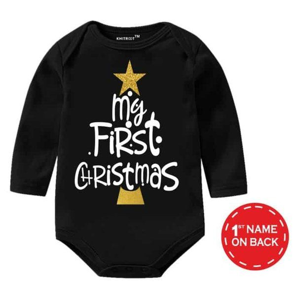 Knitroot My First Christmas Glitter Gold Print Baby Romper Gifts For 7 Year Old Boys