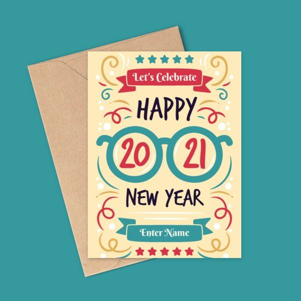 Privy Express Name Personalised 2021 Happy New Year Greeting Card New Year Greeting Cards