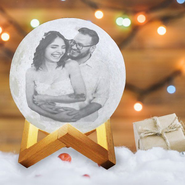 3D Multicolor Moon Lamp with Photo Kiss Day Gifts for Couple