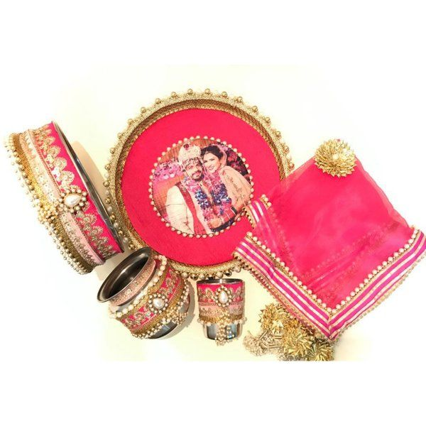Hoods & Bonds Personalized Pink Sada Swaghagyavati Bhava Handcrafted KarwaChauth Pooja Thali Sets Personalized Birthday Gifts For Mom