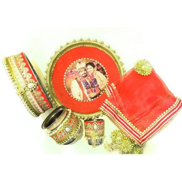 Hoods & Bonds Personalized Red Sada Swaghagyavati Bhava Handcrafted KarwaChauth Pooja Thali Sets Personalized Birthday Gifts For Mom