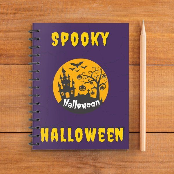 Privy Express Purple and Yellow Spooky Halloween Coloring Notebook for Kids (Notepad) Cheap Gifts For Friends