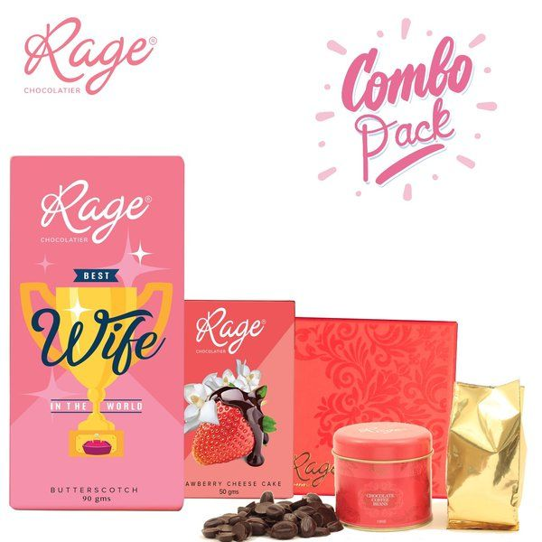 Rage Chocolatier Rage Chocolatier Combo Pack with Assorted Chocolate Box, and Chocolate Coffee Beans Tin Happy Chocolate Day Gift