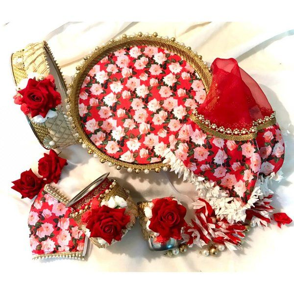 Hoods & Bonds Red Gul-E-Baagh Floral Handcrafted KarwaChauth Pooja Thali Sets  Wedding Gifts For Women