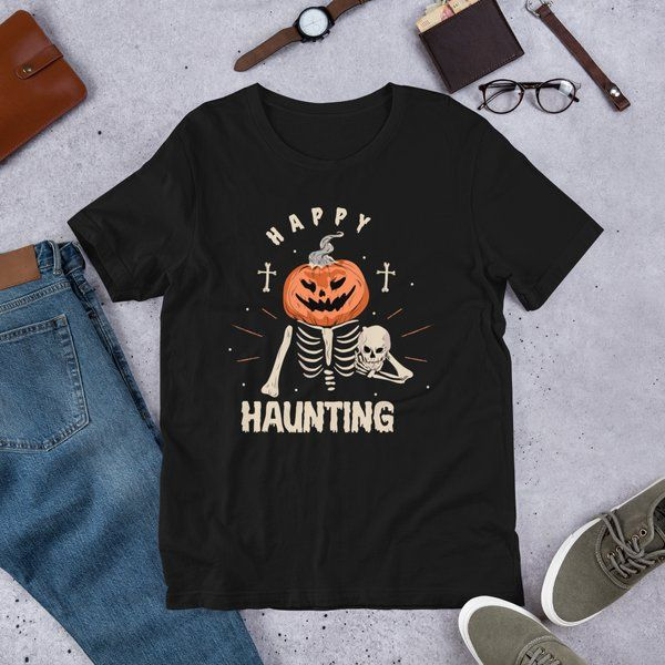 Best Spooky Gifts Scary Skeleton T-shirt with Halloween Pumpkin for Men